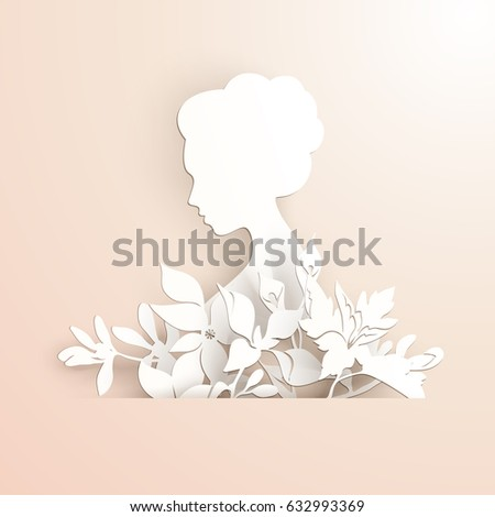 Template elegant lady profile flowers paper stock vector (royalty.