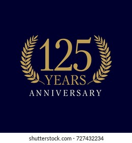 Template emblem 125th years old luxurious anniversary with a frame in the form of laurel branches and the number 125. 125 years anniversary royal logo. Vector illustration