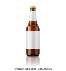 Template of empty brown glass beer bottle with blank labels on white background. Vector illustration. Packaging collection.