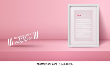 Template empty pink studio, photostudio, room Vector eps 10