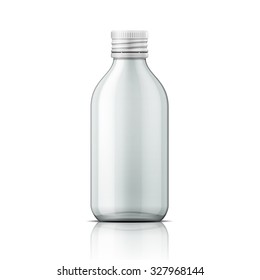 Template of empty transparent glass bottle with screw cap. For medicine, syrup, pills, tabs. Packaging collection. Vector illustration.