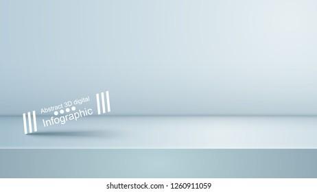 Template empty white studio, photostudio, room Vector eps 10
