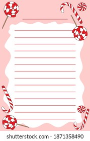Template for entries lined with caramel, striped red-white candies on a white and pink background. Lollipops and candycane hand drawn with a dark outline.