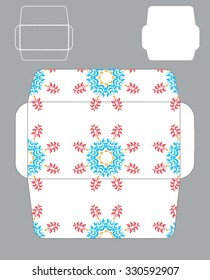 template of an envelope with bright mandala patterns