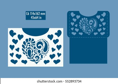 Template - envelope for laser cut with hearts. DIY laser cutting envelope. Wedding invitation envelope for cutting machine or laser cutting. Suitable for greeting cards, invitations, menus.