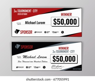 template for event winning check geometric background vector