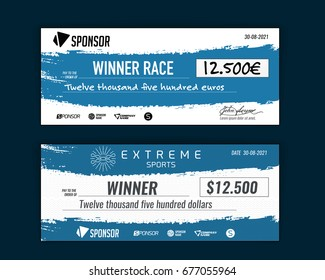 template for event winning check grunge design vector