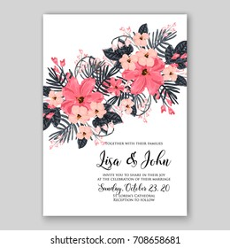 Template exotic floral wreath wedding or bridal shower invitation card of tropical red hibiscus