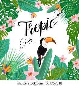 Template with exotic plants and flowers and toucan bird.