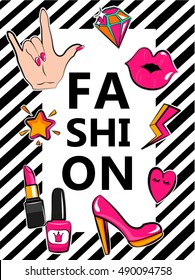 Template for fashion with stylish patch badges with lips, hearts, speech bubbles. Set of fashion stickers, icons, patches in  80s-90s comic cartoon style. Geometric background. Vector illustration.