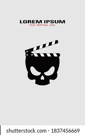 Template for festival horror movie. Zombie skull with clapper. Horror movie logo template, icon, symbol. Film design for banner, flyer, ticket. Scary cinema. Horror film night. Halloween film concept.