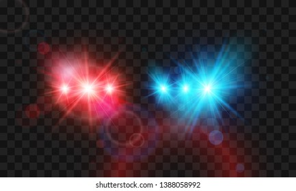 Template flash red and blue light police car siren. Vector illustration isolated on transparent background