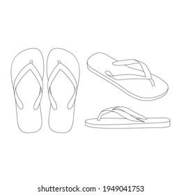 Template flip flops sandals vector illustration flat sketch design outline
