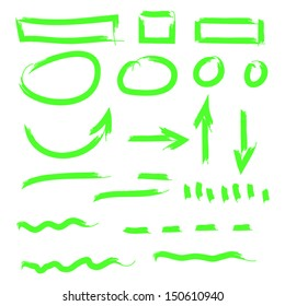 Template Of Fluorescent Highlighter Lines For Text. High quality vector illustration. Eps10.