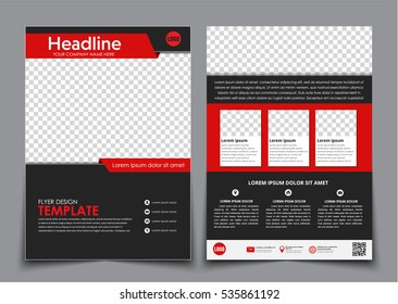 Template flyer black with red elements for printing. Template 2 page brochure with space for photos, information blocks, texts and QR code. Vector illustration.