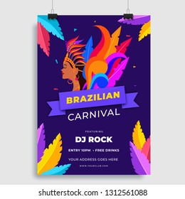 Template or flyer design with beautiful woman in carnival costume for Brazilian Carnival celebration concept.