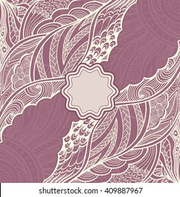 Template flyer or label  with Zen doodle or Zen tangle pattern in pearly and lilac colors for  decorate package clothes perfume cosmetic  or creative Post Card or Wedding invitation
