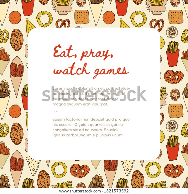 Template Food Snacks Eating During Watching Stock Vector Royalty Free 1321573592