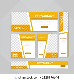 Template of Food web banners Set with diagonal elements for a photo. Universal design for advertising business, travel, food and restaurant. Photo of a mosaic for a sample.