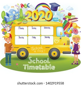 Template in form of school bus with timetable for students or pupils with days of week and free spaces for notes. Illustration includes many hand drawn elements of school supplies.