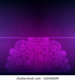 Template frame design for card with hand drawn abstract lace snowflake. Can be used for packaging, invitations and template.