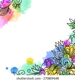 Template frame design for greeting card. Watercolor vector abstract background. Floral frame. Linear.