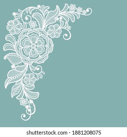 Template frame  design for invitation lace card. Vintage Lace Doily. Lace flowers.