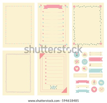 Template And Frame For Notebook Paper Diary Scrapbook Card Decorated With Flower