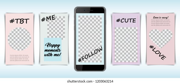 Template frame set for social media with hashtag for smartphone.