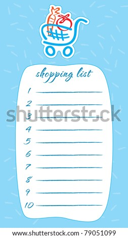 template frame shopping list shopping cart stock vector royalty
