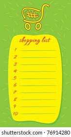 Template frame for shopping list vector illustration