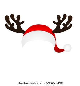 Template for a fun photo of Santa Claus hat and horn Christmas reindeer cartoon