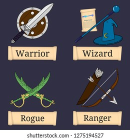 Template of Game Character, Class. Warrior, Wizard, Rogue, Ranger. Main Role Classes. Select Your Class. Vector Illustration.