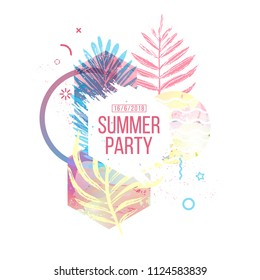 Template geometric design for summer season sales. Layout with geometric elements, watercolor texture and tropical leaf. Modern banner with  decor leaves and flowers for party or offer. Vector.