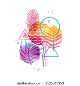 Template geometric design for summer season sales. Abstract background with watercolor texture and tropical leaf. Modern banner with decor  exotic plants and wave for party and advertisement. Vector