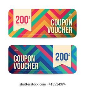 Template Gift Voucher Coupon Discount, Background Modern Design, Vector illustration