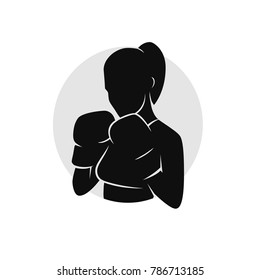 Template Girl Woman Boxing silhouette
