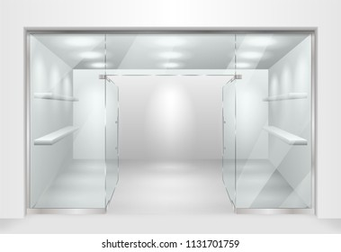 Template for Glass showcase or boutique. store front facade with window showcase. Design of exhibition stand or empty shop exterior. Vector illustration