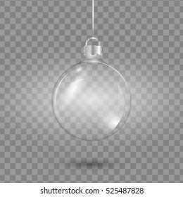Template of glass transparent ball empty. Stocking element  decorations. Vector illustration.