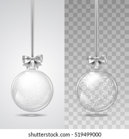 Template of glass transparent Christmas ball with snow . Stocking element christmas decorations. Transparent vector object for design, mock-up. Shiny toy with silver glow. Isolated object. Vector