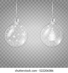 Template of glass transparent Christmas ball with christmas tree and falling, shining snow, snowflake. Vector