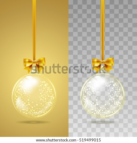 Template Of Glass Transparent Christmas Ball With Snow Inside Stocking Element Decorations