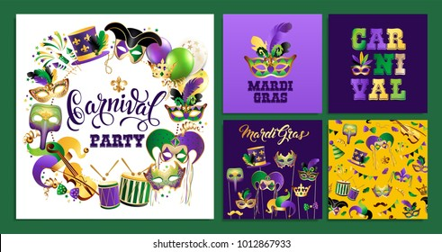 Template with Golden Carnival Masks on Black Background. Glittering Celebration Festive Border. Vector Illustration.