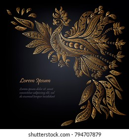 Template with Golden ethnic bird isolated on black background. Vector illustration.