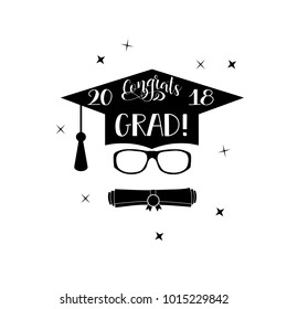 Template of the graduation class in 2018. Graduation design with hut and text. Congratulations to Grads Concept shirt, seal, stamp or stamp, greetings, invitation.