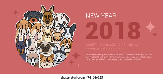 Template greeting banner with dogs. The dog is a symbol of 2018.