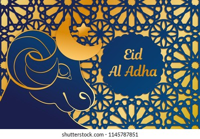 Template greeting card, banner. Topic Eid Al Adha. Lamb, ornament cut from a blue paper on a gold background. Congratulation.