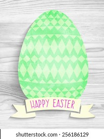 template greeting card Happy Easter with green watercolor egg with tribal geometric pattern and shadow on a wooden background