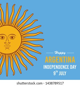 Template of greeting card, Happy Independence Day Argentina. 9 th July. Vector illustration.