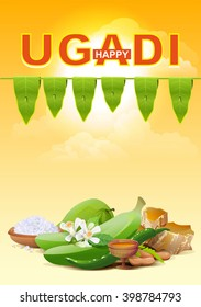 Template greeting card for holiday Ugadi. Illustration in vector format